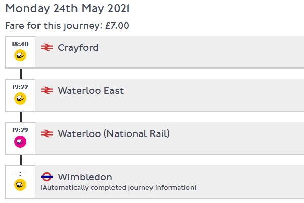 Journey History for Crayford to Wimbledon